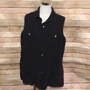 Black linen sleeveless top